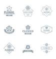 flora logo set simple style vector image