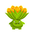 funny vexed cactus with orange flowers on his head vector image vector image