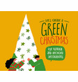 green christmas card love recycled plastic tree vector image