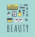 hand drawn beauty products creative vector image