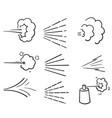 hand drawn doodle water spray icon set vector image vector image