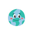 happy smiling earth planet flat cartoon vector image vector image