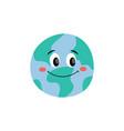 happy smiling earth planet flat cartoon vector image