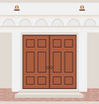 house door front with steps and lamps building vector image vector image