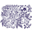 ink floral design vector image vector image