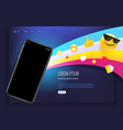 landing page with modern smartphone and web emoji vector image vector image