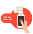 mobile banking with smart phone and paycheck vector image