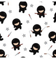 ninja characters seamless pattern on white vector image