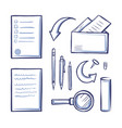 office papers monochrome sketches outline vector image vector image