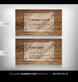 Old Wooden Texture Business Card Background vector image vector image