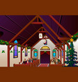 people celebrating christmas eve inside the church vector image