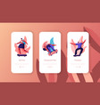 people character skate skateboard mobile app page vector image vector image