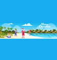 people on tropical beach new year christmas vector image