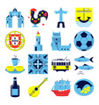 portugal culture icons set in flat style vector image vector image