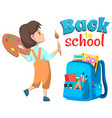 pupil girl back to school backpack sign vector image vector image