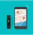 running track route on map mobile phone vector image