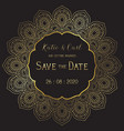 save date background with elegant mandala vector image vector image