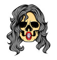 scary women skull with sexy lips vector image vector image