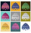 set of icons in flat style ramadan mosque vector image vector image