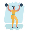 sporty woman silhouette with barbell vector image