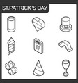 stpatricks day outline isometric icons vector image vector image