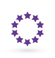 ten score stars in circle geometric shape purple vector image vector image