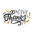 thanksgiving day lettering hand drawn design vector image