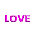 the word love is depicted in a modern faceted font vector image