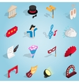 Theatre set icons isometric 3d style vector image vector image