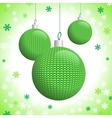 Three Green Knitted Christmas Balls vector image vector image