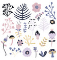 winter flowers isolated set bright backgrou vector image vector image