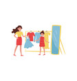 young cheerful mother and her daughter shopping vector image