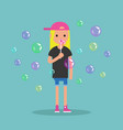 young female character blowing soap bubbles flat vector image vector image
