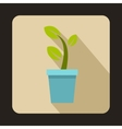 Young plant in blue pot icon flat style vector image
