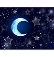 background with a blue moon vector image
