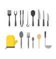 cartoon cookware set row vector image