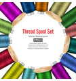 thread spool banner circle border place for text vector image