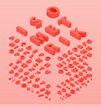 3d font color living coral vector image