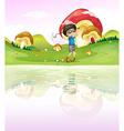A boy playing golf at the riverbank vector image vector image
