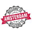 amsterdam round ribbon seal vector image vector image