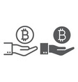 bitcoin on hand line and glyph icon finance vector image vector image