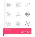 black atom icon set vector image vector image