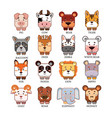 cartoon cute animals head collection set vector image