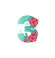 color number 3 with beautiful flowers vector image vector image