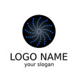 creative logo blue stars on a black circle vector image