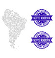 dotted map of south america and textured stamp vector image vector image