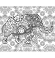 Ethnic Indian elephant over ornate background vector image vector image