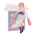 fashion girl with bags in the store customer vector image