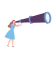 female holding huge telescope searching and vector image