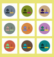 flat icons set of drought and trees concept on vector image vector image